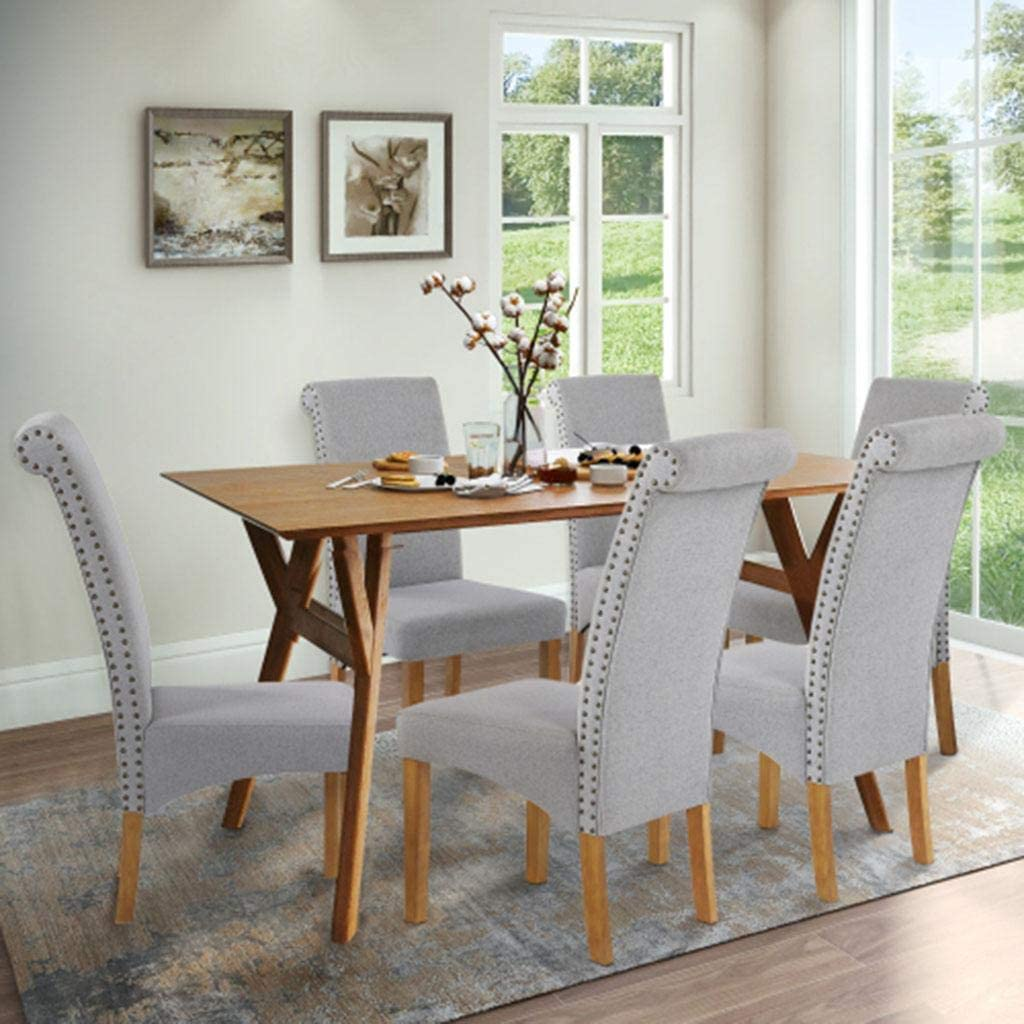 XLYAN Dining Chair Set 6 Very popular Fabric Excellence So Side upholstered Chairs with
