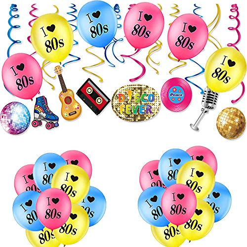 1980's Disco Fever Party Balloons and Swirls Set.