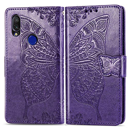 Hülle für Xiaomi Redmi 7 Handyhülle Schutzhülle Leder PU Wallet Bumper Lederhülle Ledertasche Klapphülle Klappbar Magnetisch für Xiaomi Redmi 7 - ZISD021415 Violett
