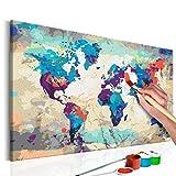 murando - Malen nach Zahlen Weltkarte 60x40 cm Malset mit Holzrahmen auf Leinwand für Erwachsene...