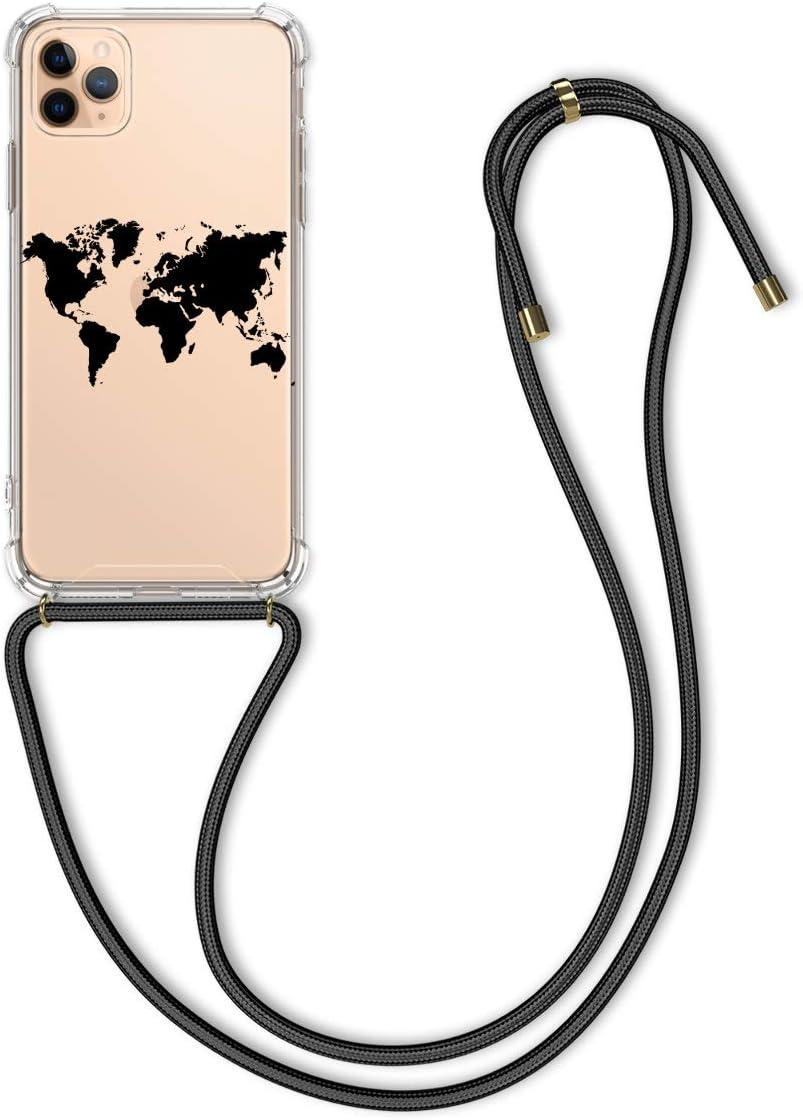 kwmobile Funda con Cuerda para Apple iPhone 11 Pro MAX - Carcasa Transparente de TPU con Colgante en Amarillo/Gris/Transparente