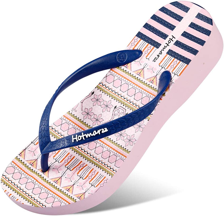 Summer Wedge Heel Women Sandals,Comfortable Breathable Slim Flip Flops,bluee,37