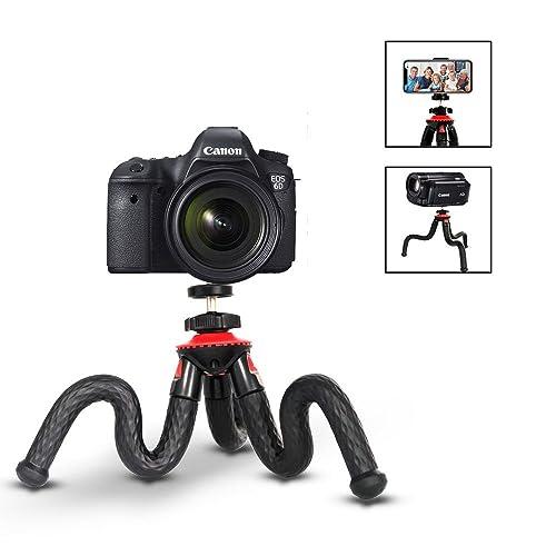 Flexible Tripod, ELOKI Mini Travel Tripod Camera Phone Tripod with Bluetooth Control for Canon Sony Nikon DSLR & Gopro Action Cam & Samsung/iPhone/ Huawei, Red