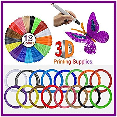 3D Pen Printer Filament - 16 Colors 1.75mm PLA Refills Pack - Each Color 16Foot/5M Length - High-Precision Diameter Linear - DIY 3D Artist Supply Accessories for Creative Hobbies (10Foot/3M 18Color)