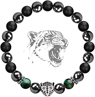 Karseer Black Panther Natural Stone Anxiety Bracelet Healing Crystals and Magnetic Energy Balance Stress Relief Beaded Bracelet Yoga Meditation Praying Protection Jewelry Gift