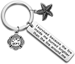 bobauna Retired Firefighter Keychain I Survived Because The Fire Inside Me Uplifting Jewelry Motivational Inspirational Gift