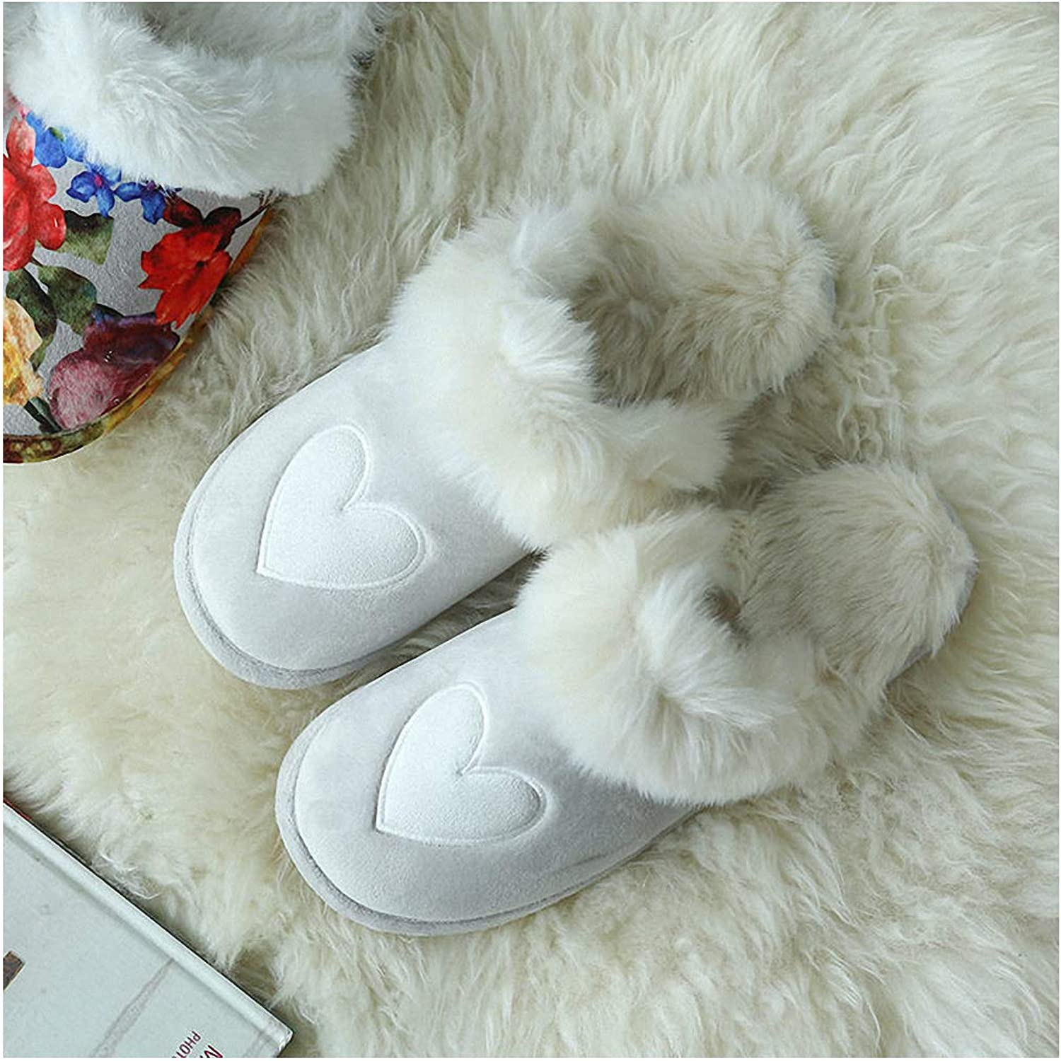 Womens Slippers Large Size Couples House Slippers for Men Women Winter Warm Faux Suede Fur Indoor Furry Home shoes Leopard Print Bedroom Slipper Heart-Shaped 14