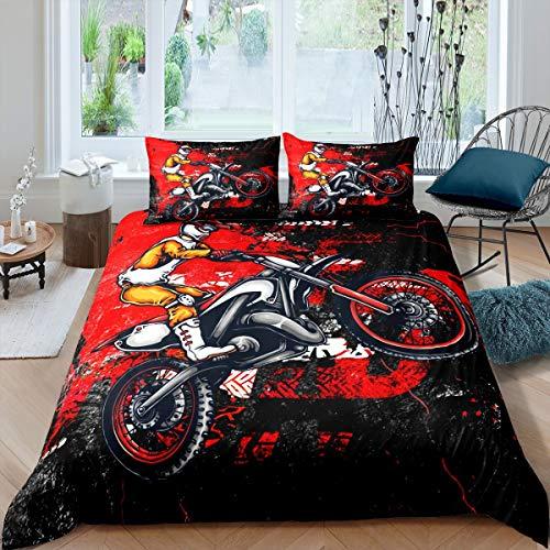 Motocross-Rider-Bettwäsche-Set, Extremsport-Thema, Bettbezug für Kinder, Teenager, Motorrad-Muster, Steppdecke, Dirt Bike, rot-schwarz, Tagesdecke, Schlafzimmerdekoration, 2 Stück