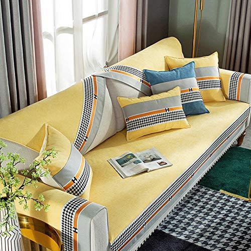 Topashe elástico elástico extraíble Cubierta,Cojín de sofá de Lujo Ligero Antideslizante, Funda de sofá Simple y de Moda-Yellow_110 * 160cm,3 Plaza Funda de Sofá Elástico Cubierta
