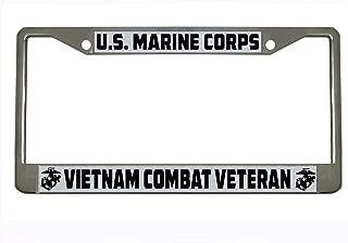 U.S. Marine Corps Vietnam Combat Veteran Military Chrome Metal Auto License Plate Frame Car Tag Holder