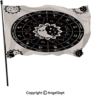 AngelSept Fashion UV Protected Polyester Flags,Vintage Dotted Floral Motifs Celestial Figures Constellations Zodiac Signs Black Beige,3x5 ft,Durable & Fade Resistant for Outside All Weather