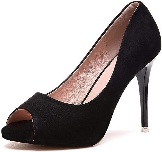 GTVERNH Chaussures Femmes Bien Et Talons Hauts 9Cm du Printemps Et De L'été Le Daim Toe La Plate - Forme des Chaussures étanches Bouche De Poisson Le Tempérament Simple Dames De Chaussures.