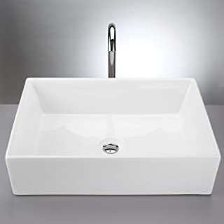 Krone Above Counter Rectangle Vessel Sink, Modern Basin for Vanities comes in Glossy and Matte Finish