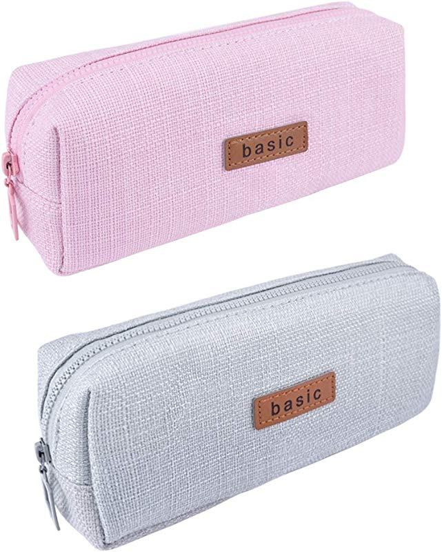 ISuperb 2 Pack Cotton Linen Pencil Case Student Stationery Pouch Bag Office Storage Organizer Coin Pouch Cosmetic Bag