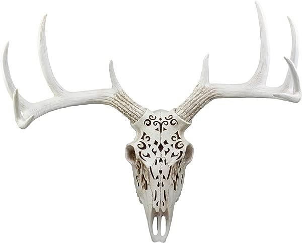 Ebros Large Vintage Filigree Design Buck Deer Head Skull Wall Decor 3D Art Hanging Plaque In Resin 22 Wide