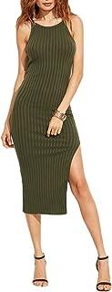 Women Sexy Bodycon Cami Dress Fashion Side Slit Ribbed Midi Dress