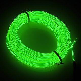 3m Tiras de luz flexibles de Calistous, Neón el Alambre con Controlador Box, luces brillantes para decoración del coche, fiestas, Grass, Navidad(Verde)