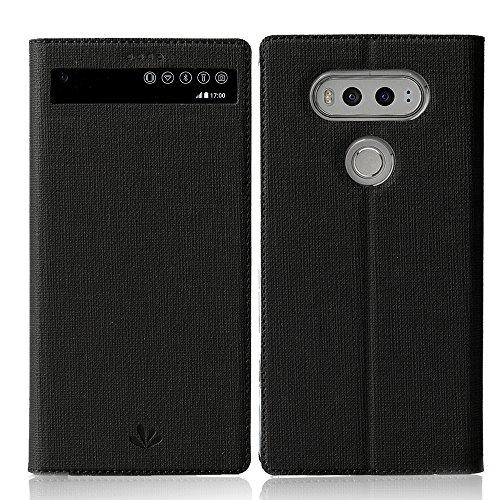 Feitenn Schutzhülle für LG V20, Premium-Flip-Leder, PU-Leder, mit Sichtfenster, Standfunktion, Kartenhalter, Magnetverschluss, TPU-Stoßdämpfer, schlanke Passform, Schutzhülle für LG V20 (schwarz)