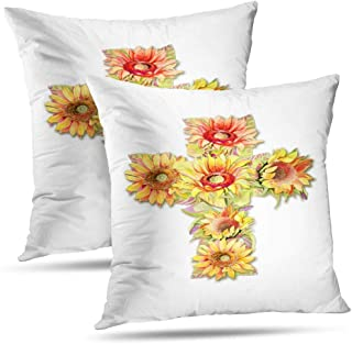 RADMAPLE Watercolor-Jesus Throw Pillow Covers Set of 2,Sunflowers Yellow Flower Cross White Beautiful Blossom Blue Outdoor Fall Decor for Sofa Bed Home 18x18 Inch, Sunflowers Yellow