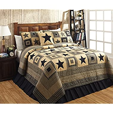 Colonial Star Black and Tan Primitive Country Quilt Set - 3 Piece (Queen/Full (3 pc))