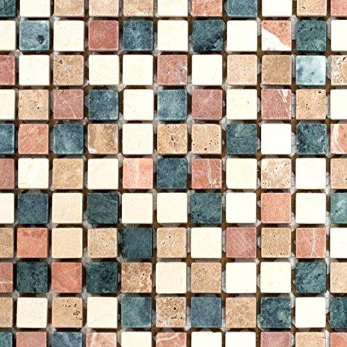 Mosaik Fliese Marmor Naturstein creme beige rot grün Random für BODEN WAND BAD WC DUSCHE KÜCHE FLIESENSPIEGEL THEKENVERKLEIDUNG BADEWANNENVERKLEIDUNG Mosaikmatte Mosaikplatte