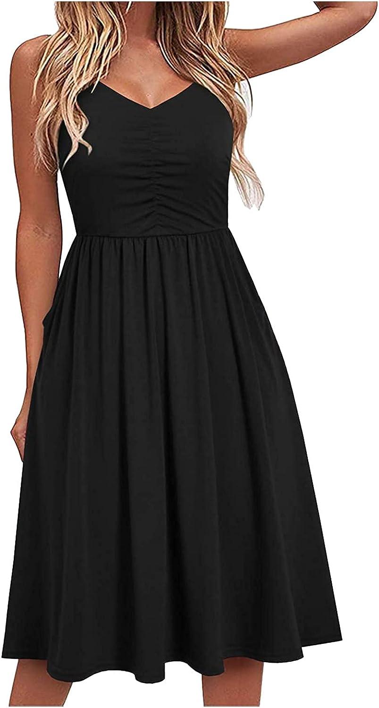 Women's Casual Summer Dress Plain Dresses A-Line Spaghetti Strap Midi Sundress