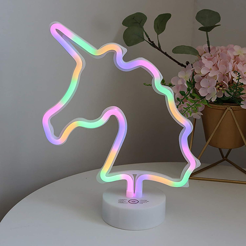 Signes n/éon en forme de licorne pour chambre /à coucher batterie ou USB club veilleuse d/écorative avec support de table festival f/ête bar