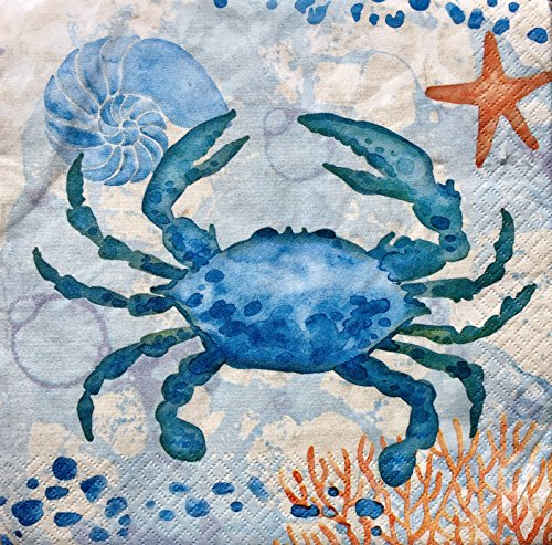 Creative Converting Set of 36 Luncheon Paper Napkins ~ Watercolor Crab