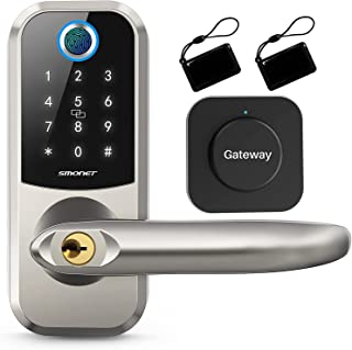 [2021 Newest] Smart Deadbolt Lock Front Door with Handle/Gataway,Keyless Entry Door Lock,Fingerprint & Electronic Keypad,P...
