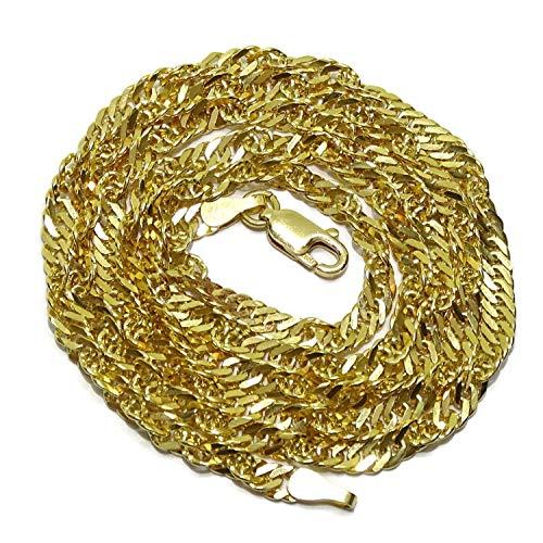 Never Say Never Cadena Singapur de Oro Macizo de 18k para Hombre de 4Mm de Ancho por 60cm de Largo Cierre mosquetón Peso; 14.50gr de Oro de 18k.