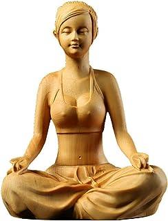 William 金品木彫 打座美少女 置物 ミニ型 ツゲの木彫り 開運 お守り 瞑想像 縁起物 ギフト 木製彫刻