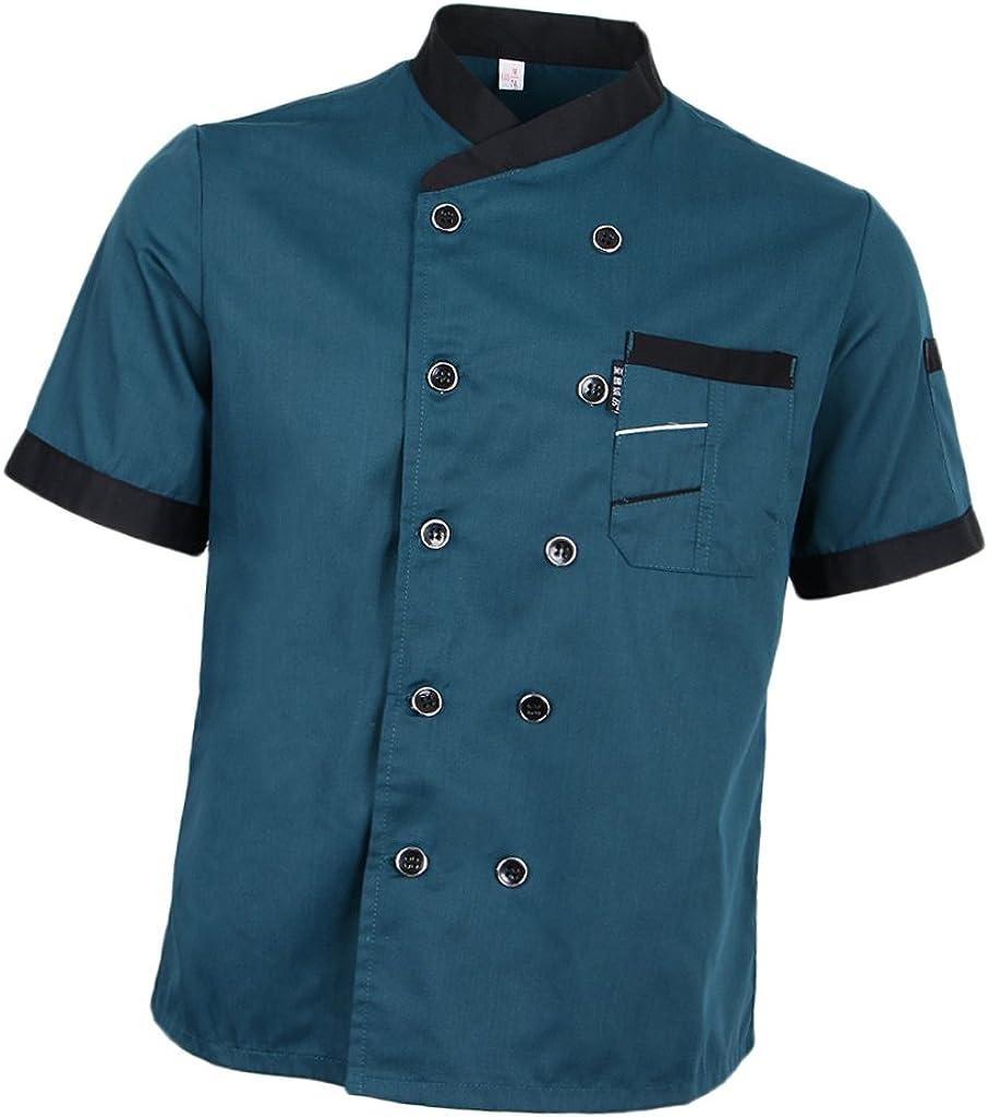 SDENSHI Surprise price Men's Regular dealer Women Chef Jacket Sleeve Uniform Kitch Hotel Short
