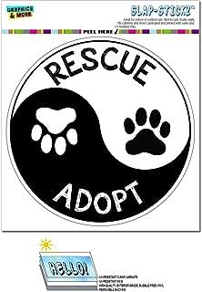 Graphics and More Rescue Adopt Yin Yang - Paw Prints Animals Dogs Cats Circle Slap-STICKZ(TM) Automotive Car Window Locker Bumper Sticker