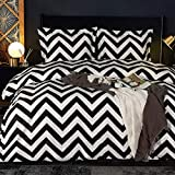 NTBAY Microfiber Queen Duvet Cover Set, 3 Pieces Ultra Soft Chevron Printed Comforter Cover Set with Zipper Closure and Corner Ties, Black and White