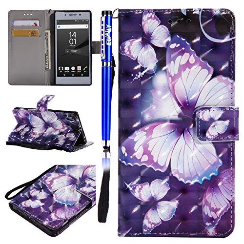 EUWLY Kompatibel mit Sony Xperia Z5 Leder Hülle Leder Handyhülle Bunt Glänzend Bling Gitzer Ledertasche Handytasche Bookstyle Schutzhülle Flip Case Wallet Tasche,lila Schmetterling