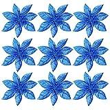 9 Piezas Flores de Navidad Flores Glitter de Navidad Flores Artificiales de Navidad Adornos de árbol de Navidad Boda de Artificial de Purpurina Flores de decoración de Navidad Blue