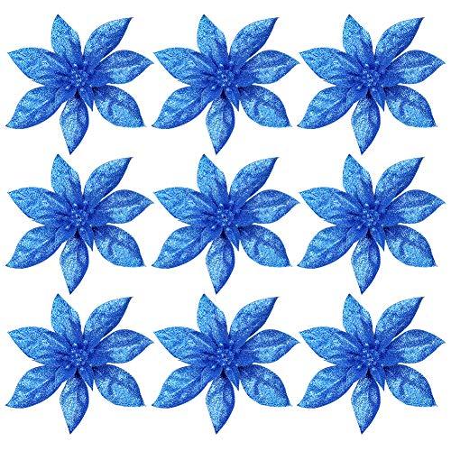 Flores De Navidad Para Decorar Azul flores de navidad para decorar  Marca Frgasgds