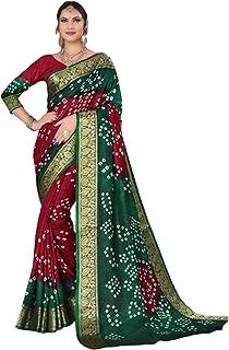 Indian Woman Green red Bandhej Art Silk Zari weaving Festival Bandhani Printed Saree Blouse Sari 6317