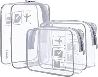 ANRUI Clear Toiletry Bag TSA Approved Travel Carry On Airport Airline Compliant Bag Quart Sized 3-1-1 Kit Travel Luggage Pouch 3 Pack