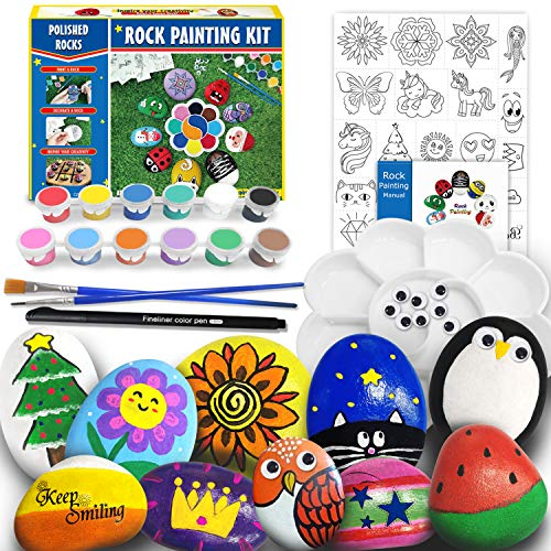 Rock Painting Kit for Kids - Arts and Crafts for Girls & Boys Ages 6-12, Craft Kits Rock Art Set Supplies for Painting Rocks - Best Tween Paint Gift, Ideas for Kids Activities