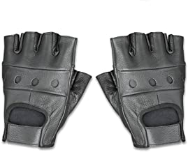 Raider Leather Fingerless Men's Motorcycle Premium Driving Gloves (Black, Medium)