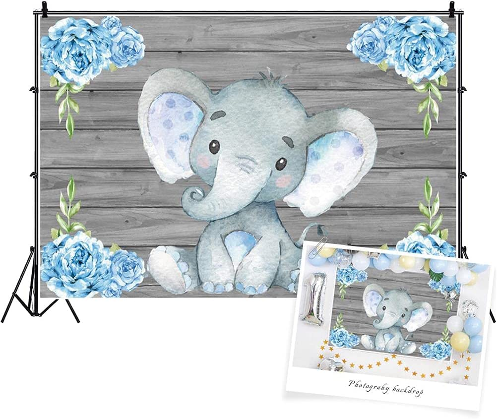 AOFOTO 10x6.5ft Cute Raleigh Mall Baby Elephant Overseas parallel import regular item Party Shower Backdrop De
