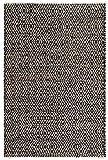 FAB HAB, Alfombra de Piso de Algod—n Yute y Reciclado, Fibras Naturales respetuosas del Medio Ambiente, Tejidas a Mano - Madera/Negro y Natural (180 cm x 270 cm)