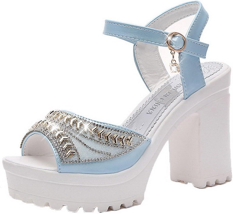 AllhqFashion Women's Buckle Blend Materials Peep-Toe High-Heels Solid Sandals
