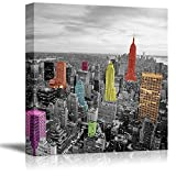 wall26 Black and White Photograph of The City with Pops of Color on The Buildings of New York - Canvas Art Home Art - 24x24 inches