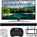 """LG 65"""" 65SM8600PUA 4K HDR Smart LED NanoCell TV w/AI ThinQ 2019 Model with Home Theater 31"""" Soundbar, Wireless Backlit Keyboard, Flat Wall Mount Kit & SurgePro 6-Outlet Surge Adapter"""