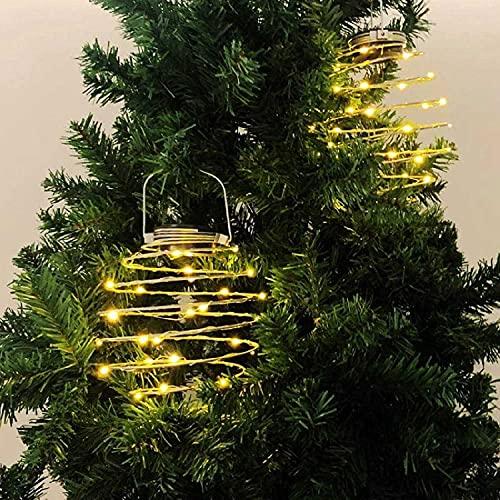 KOPL Luces Colgantes En Espiral con Energía Solar Linternas Colgantes Al Aire Libre Luces Solares para Jardín Linternas Creativas De Hierro para Jardín 4PCS Dorado
