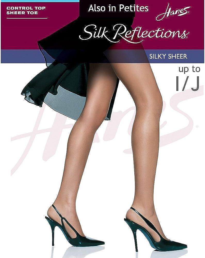Hanes Women's Control Top Sheer Toe Silk Reflections Panty Hose
