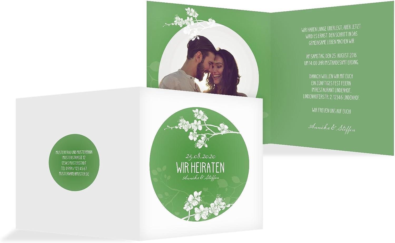 Hochzeit Einladung Cherry Blossom, 30 Karten, MattGrün MattGrün MattGrün B07B6P5NDD    Erste Klasse in seiner Klasse  3e3442