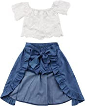Toddler Baby Girl Lace Flower Off Shoulder Crop Top Denim Shorts Maxi Skirt Outfits Summer Clothes Set